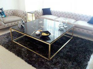 میز صفحه سنگی پایه استیل