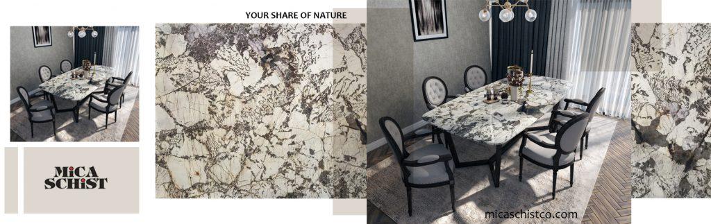 میز صفحه سنگی با پایه استیل